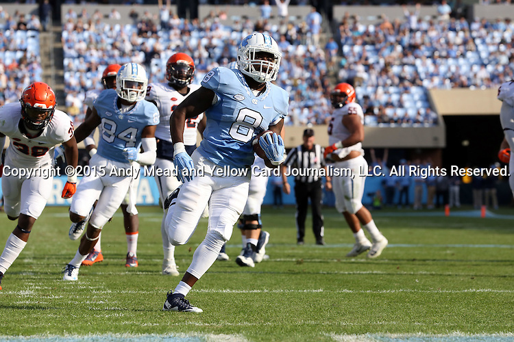 24 October 2015: UNC's T.J. Logan scores a touchdown. The University of North Carolina Tar Heels hosted the University of Virginia Cavaliers at Kenan Memorial Stadium in Chapel Hill, North Carolina in a 2015 NCAA Division I College Football game. UNC won the game 26-13.