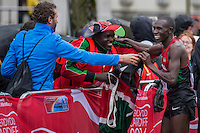 Geoffrey Kamworor of Kenya celebrates winning the IAAF World Half Marathon Championships 2016 in Cardiff, Wales on 26 March 2016. Photo by Mark  Hawkins / PRiME Media Images.