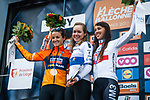 Anna Van Der Breggen (NED) Boels Dolmans Cyclingteam wins with team mate Elizabeth Deignan (GBR) in 2nd place and Katarzyna Niewiadoma (POL) WM3 Pro Cycling 3rd on the podium at the end of La Fleche Wallonne Femme 2017, Huy, Belgium. 19th April 2017.  Photo by Thomas van Bracht / PelotonPhotos.com