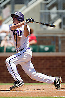 Third baseman Jantzen Witte #35 of the Texas Christian University Horned Frogs swings during the NCAA Regional baseball game against the Ole Miss Rebels on June 1, 2012 at Blue Bell Park in College Station, Texas. Ole Miss defeated TCU 6-2. (Andrew Woolley/Four Seam Images)