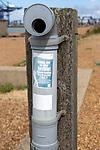 Disposal bin for waste fishing tackle and line, Landguard Point, Felixstowe, Suffolk, England, UK