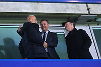 Ex Chelsea player, Andriy Shevchenko (middle) greets an old friend ahead of kick-off during Chelsea vs Dynamo Kiev, UEFA Europa League Football at Stamford Bridge on 7th March 2019