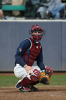 Nathan Keavy (2) of the Loyola Marymount Lions at catcher during a game against the Washington State Cougars at Page Stadium on February 26, 2017 in Los Angeles, California. Loyola defeated Washington State, 7-4. (Larry Goren/Four Seam Images)