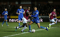 West Ham United's Michail Antonio and AFC Wimbledon's Terell Thomas<br /> <br /> Photographer Rob Newell/CameraSport<br /> <br /> Emirates FA Cup Fourth Round - AFC Wimbledon v West Ham United - Saturday 26th January 2019 - Kingsmeadow Stadium - London<br />  <br /> World Copyright © 2019 CameraSport. All rights reserved. 43 Linden Ave. Countesthorpe. Leicester. England. LE8 5PG - Tel: +44 (0) 116 277 4147 - admin@camerasport.com - www.camerasport.com