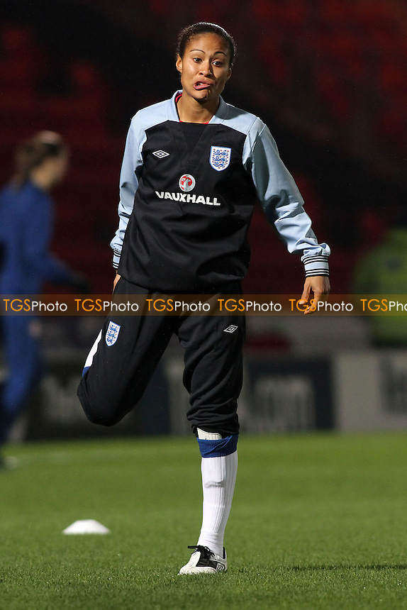 Rachel Yankey of England warms up - England Women vs Serbia Ladies - UEFA Euro 2013 Group 6 Qualifier at Keepmoat Stadium, Doncaster Rovers FC - 23/11/11 - MANDATORY CREDIT: Gavin Ellis/TGSPHOTO - Self billing applies where appropriate - 0845 094 6026 - contact@tgsphoto.co.uk - NO UNPAID USE.