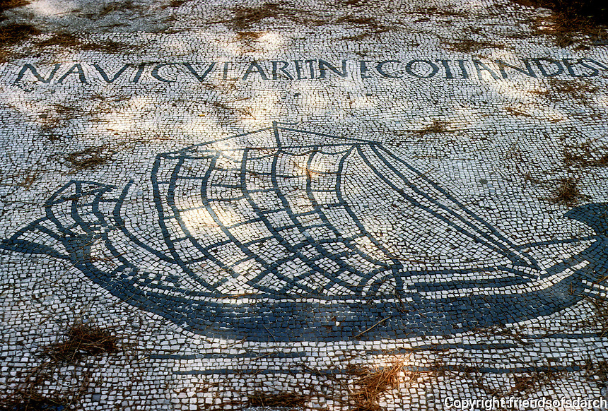 Italy: Ostia--Mosaic, Corporation floor: a Merchantman. Photo '83.