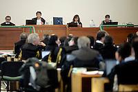 Roma, 19 Novembre 2015<br /> La presidente Rosanna Ianniello e i giudici a latere Renato Orfanelli e Giulia Arcieri.<br /> Aula bunker di Rebibbia<br /> Terza udienza del processo Mafia Capitale, Roma Capitale, avvocati,