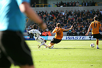 Nathan Dyer gets a shot off at the Woves goal<br /> Barclays Premiere League, Wolves V Swansea City, Molineux, 22/10/11<br /> Ben Wyeth / Athena Picture Agency<br /> info@athena-pictures.com
