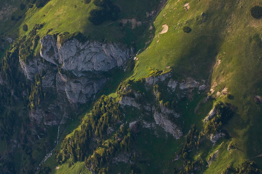 Aerial view of calcareous stone cliffs at the end of Ticha valley. Western Tatras, Slovakia. June 2009. Mission: Ticha