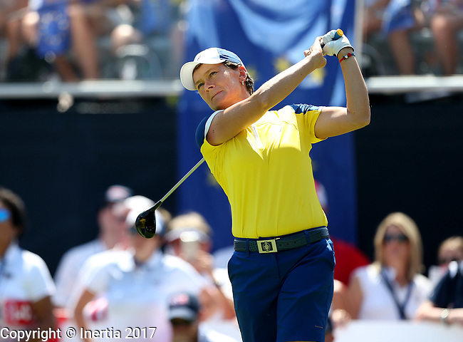 DES MOINES, IA - AUGUST 19: Europe's Catorina Matthew watches her tee shot on the 1st hole of their afternoon four-ball match Saturday at the 2017 Solheim Cup in Des Moines, IA. (Photo by Dave Eggen/Inertia)