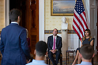 United States Secretary of Health and Human Services (HHS) Alex Azar and First lady Melania Trump listen to youth from the Truth Initiative, ages 13 to 18, at the White House in Washington D.C., U.S. on October 9, 2019. <br /> <br /> Credit: Stefani Reynolds / CNP / MediaPunch