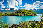 Skilak Lake under blue sky, Kenai National Wildlife Refuge, Southcentral Alaska, Summer.