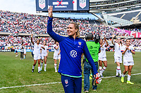 CHICAGO, IL - OCTOBER 06: Ashlyn Harris #18 of the United States during a game between the USA and Korea Republic at Soldier Field, on October 06, 2019 in Chicago, IL.