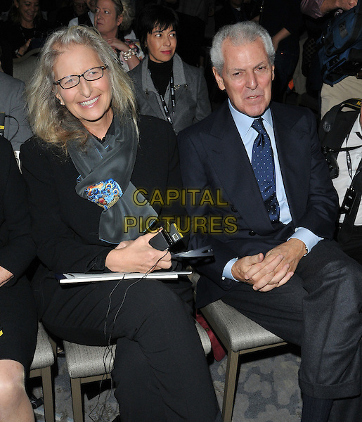 Annie Leibovitz &amp; Marco Tronchetti Provera attend the 2016 Pirelli Calendar news conference &amp; photocall, Grosvenor House Hotel, Park Lane, London, UK, on Monday 30 November 2015.<br /> CAP/CAN<br /> &copy;CAN/Capital Pictures