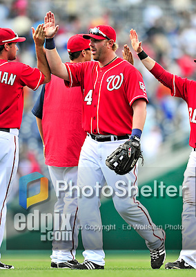 25 April 2010: Washington Nationals' first baseman Adam Dunn celebrates a win against the Los Angeles Dodgers to cap their 10 game homestand at Nationals Park in Washington, DC. The Nationals shut out the Dodgers 1-0 to take the rubber match of their 3-game series. Mandatory Credit: Ed Wolfstein Photo