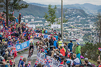 Reto Hollenstein (SUI/Katusha-Alpecin) finishing on top of Mount Fløyen<br /> <br /> Men Elite Individual Time Trial<br /> <br /> UCI 2017 Road World Championships - Bergen/Norway