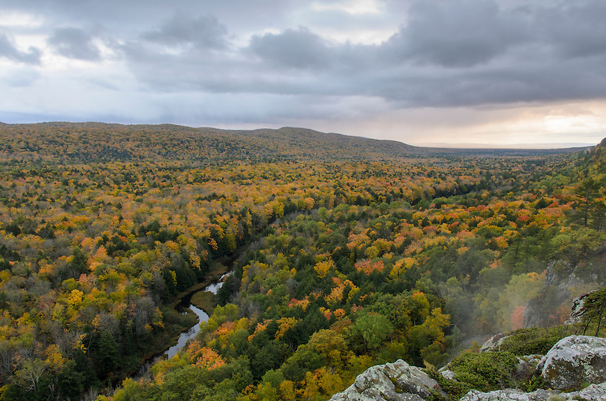 Autumn rain showers moving over the Big Carp River Valley in the Porcupine Mountains. Western U.P. of Michigan.