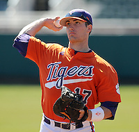 Infielder/catcher John Nester (17) of the Clemson Tigers prior to a game against the Wright State Raiders Saturday, Feb. 27, 2011, at Doug Kingsmore Stadium in Clemson, S.C. Photo by: Tom Priddy/Four Seam Images