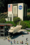 Lego Miniature Model of NASA Space Shuttle at Miniland, LegoLand, tourist amusement attraction in Carlsbad, San Diego County, California
