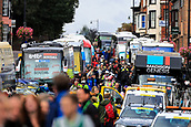 8th September 2017, Newmarket, England; OVO Energy Tour of Britain Cycling; Stage 6, Newmarket to Aldeburgh; Police motorcycles give the riders a escort through Newmarket's busy high street