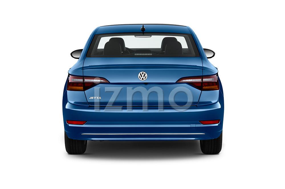 Straight rear view of a 2019 Volkswagen Jetta SEL 4 Door Sedan stock images