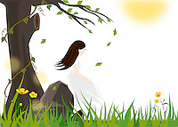 Vector illustration background of a girl sitting on a rock under a tree with leaves blowing in wind and grass and wildflowers in the background -stock illustration.