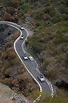 Traffic along winding mountain road Masca, Tenerife, Canary Islands.