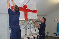 England Fitness Coach, Mark Armitage and U18 Kitman, Barry Piper, ensure the St George's Flag is in a prominent position in the England dressing room during England Under-18 vs Ivory Coast Under-20, Toulon Tournament Final Football at Stade de Lattre-de-Tassigny on 10th June 2017