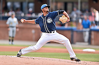 Asheville Tourists starting pitcher Jesus Tinoco (36) delivers a pitch during a game against the West Virginia Power at McCormick Field on June 23, 2016 in Asheville, North Carolina. The Tourists defeated the Power 3-2. (Tony Farlow/Four Seam Images)