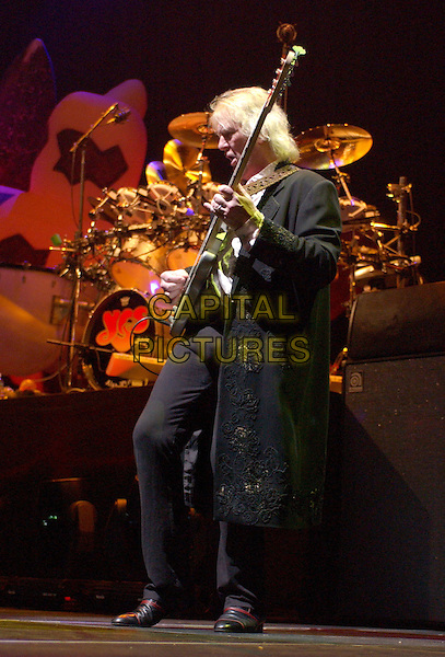 CHRIS SQUIRE-YES.performing live on their world tour at The Pond, Anaheim, California..April 20th 2004.band music concert gig playing keyboard drums  microphone full length full-length on stage.*UK sales only*.www.capitalpictures.com.sales@capitalpictures.com.©Capital Pictures