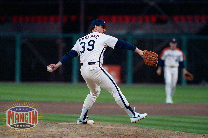 SAN FRANCISCO, CA - Bob Knepper of the Houston Astros pitches during a game against the San Francisco Giants at Candlestick Park in San Francisco, California in 1989. Photo by Brad Mangin