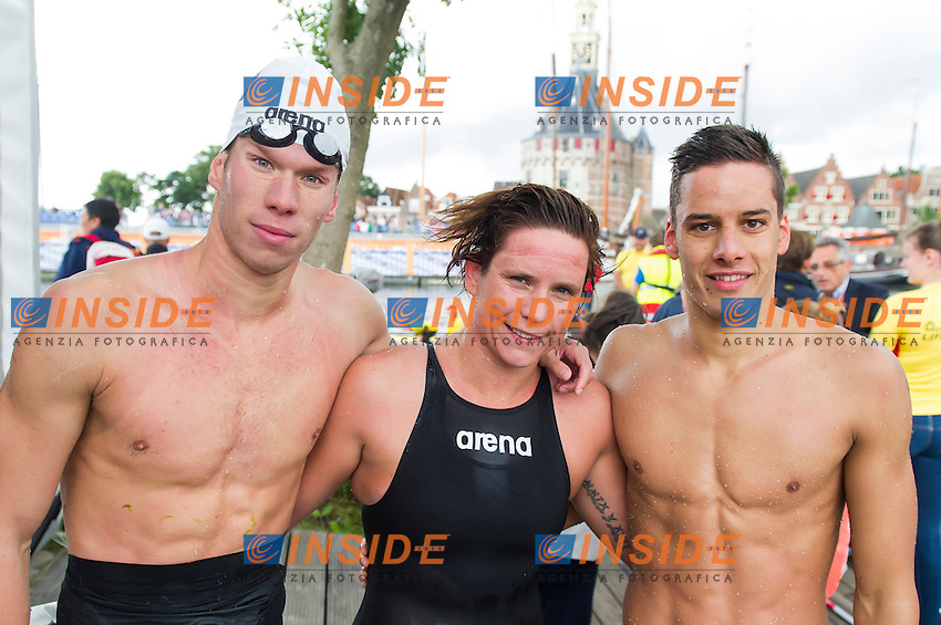 Team HUNGARY bronze medal - RISZTOV Eva Fruzsina, PAPP Mark, SZEKELYI Daniel <br /> Hoorn, Netherlands <br /> LEN 2016 European Open Water Swimming Championships <br /> Open Water Swimming<br /> 5km Team Event Mixed<br /> Day 03 13-07-2016<br /> Photo Giorgio Perottino/Deepbluemedia/Insidefoto