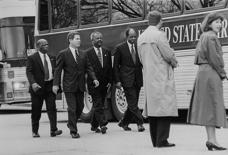 Members of Congress arriving at Washington National Cathedral via buses for funeral services of Secretary Ron Brown. Left to right are Rep. John Lewis, D-Ga., Rep. Alan Mollohan, D-W.Va., Rep. Donald M. Payne, D-N.J., Rep. William J. Jefferson, D-La., on April 10, 1996. (Photo by CQ Roll Call via Getty Images)