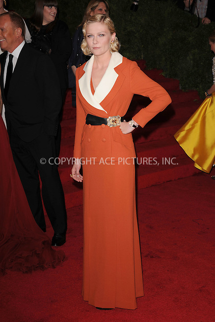 "WWW.ACEPIXS.COM . . . . . .May 7, 2012...New York City....Kirsten Dunst  attending the ""Schiaparelli and Prada: Impossible Conversations"" Costume Institute Gala at The Metropolitan Museum of Art in New York City on May 7, 2012  in New York City ....Please byline: KRISTIN CALLAHAN - ACEPIXS.COM.. . . . . . ..Ace Pictures, Inc: ..tel: (212) 243 8787 or (646) 769 0430..e-mail: info@acepixs.com..web: http://www.acepixs.com ."