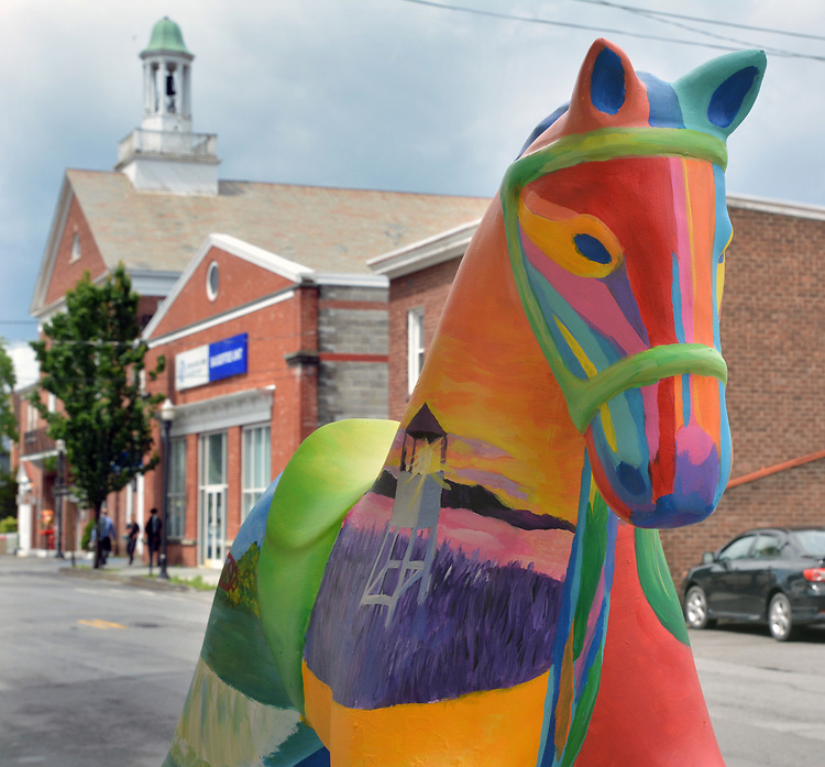 "A view of, ""15"" one of the 35 Artist painted Rocking Horses on display around Saugerties, NY as part of the Chamber of Commerce sponsored Art in the Village Project titled ""Rockin' Around Saugerties."" This photo taken on Friday, May 26, 2017. Photo by Jim Peppler. Copyright/Jim Peppler-2017."