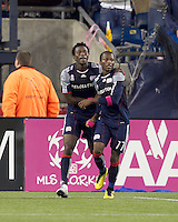 New England Revolution midfielder Kenny Mansally (7) celebrates his goal with New England Revolution midfielder Sainey Nyassi (17). Real Salt Lake defeated the New England Revolution, 2-1, at Gillette Stadium on October 2, 2010.