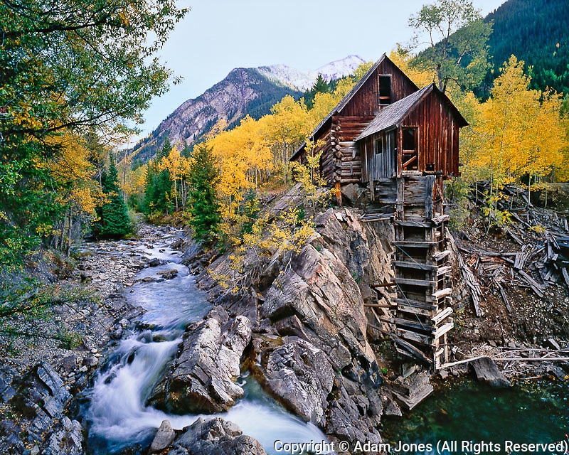 Crystal River and old mining cabin,.Uncompahgre National Forest, Colorado