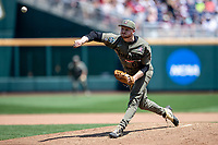 Vanderbilt Commodores pitcher Drake Fellows (66) delivers a pitch to the plate against the Louisville Cardinals in the NCAA College World Series on June 16, 2019 at TD Ameritrade Park in Omaha, Nebraska. Vanderbilt defeated Louisville 3-1. (Andrew Woolley/Four Seam Images)