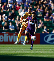 3rd November 2019; HBF Park, Perth, Western Australia, Australia; A League Football, Perth Glory versus Central Coast Mariners; Bruno Fornaroli of the Perth Glory shields the loose ball against Dylan Fox of the Central Coast Mariners - Editorial Use