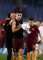 Calcio, Serie A: Roma vs ChievoVerona. Roma, stadio Olimpico, 22 settembre 2016.<br /> Roma&rsquo;s coach Luciano Spalletti, left, celebrates with his player Kevin Strootman at the end of the Italian Serie A football match between Roma and Chievo Verona, at Rome's Olympic stadium, 22 December 2016. Roma won 3-1.<br /> UPDATE IMAGES PRESS/Isabella Bonotto
