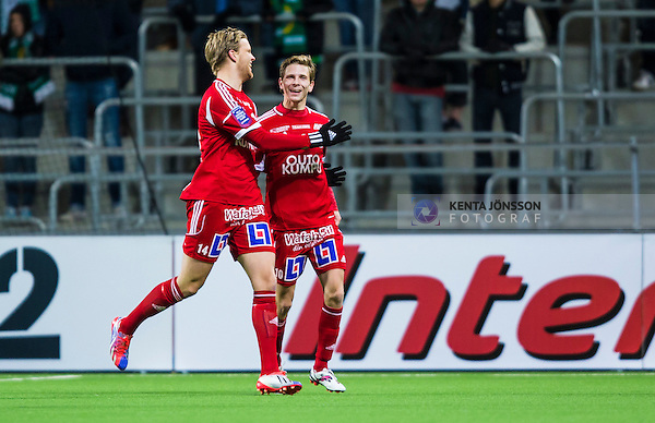 Stockholm 2013-10-20 Fotboll Superettan Hammarby IF - Degerfors IF :  <br /> Degerfors 10 Johan Bertilsson jublar med Degerfors 14 Emil Heds&eacute;n efter sitt 1-0 m&aring;l<br /> (Foto: Kenta J&ouml;nsson) Nyckelord:  jubel gl&auml;dje lycka glad happy