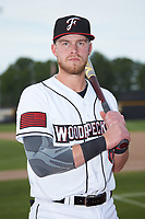 Fayetteville Woodpeckers first baseman Seth Beer (8) poses for a photo prior to the game against the Salem Red Sox at Segra Stadium on May 15, 2019 in Fayetteville, North Carolina. The Woodpeckers defeated the Red Sox 6-2. (Brian Westerholt/Four Seam Images)