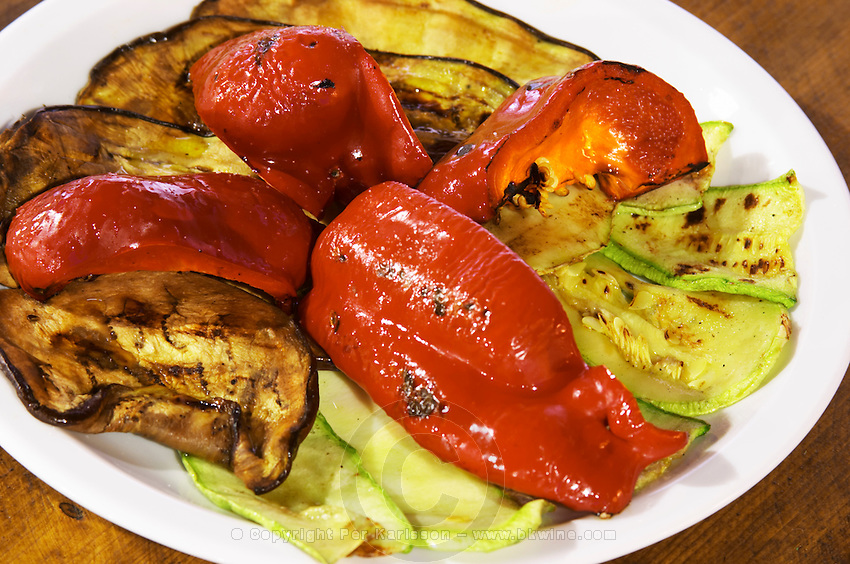 Grilled vegetables, red bell pepper, aubergine eggplant, zucchini squash. Hercegovina Produkt winery, Citluk, near Mostar. Federation Bosne i Hercegovine. Bosnia Herzegovina, Europe.
