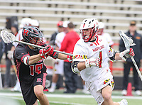 College Park, MD - April 15, 2018: Maryland Terrapins Connor Kelly (1) runs with the ball during game between Rutgers and Maryland at  Capital One Field at Maryland Stadium in College Park, MD.  (Photo by Elliott Brown/Media Images International)