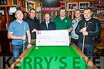 Members of the Kerry Pool Association present a cheque of €500 to Pieta House in the Huddle Bar on Saturday.<br /> L to r: Philip Lawlor (Kerry Pool Ass), Niall Marshall, Con O'Connor (Pieta House), Mike Moriarty, Tim Winters and Derek Hasell.