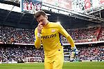 Nederland, Amsterdam, 25 maart 2012.Eredivisie.Seizoen 2011-2012.Ajax-PSV 2-0.Doelman Tyton van PSV bedankt god dat hij nog leeft na de 2-0 nederlaag tegen Ajax