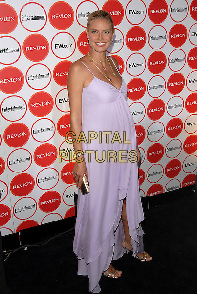 HEIDI KLUM.attends The Entertainment Weekly Pre-Emmy Party held at Republic in West Hollywood, California, USA,.August 26, 2006..full length pregnant long white lilac dress gold necklace shoes clutch bag jewellery watch.Ref: DVS.www.capitalpictures.com.sales@capitalpictures.com.©Debbie VanStory/Capital Pictures