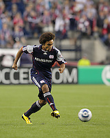 New England Revolution defender Kevin Alston (30) passes the ball. The New England Revolution defeated the New York Red Bulls, 3-2, at Gillette Stadium on May 29, 2010.