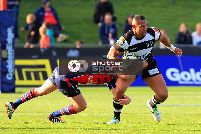 Jason Shoemark in the Tasman Makos vs Hawkes Bay Magpies ITM Cup rugby match held at Lansdowne Park, Blenheim 17th August 2014. Photo Gavin Hadfield / Shuttersport