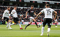 Bolton Wanderers' Will Buckley competing with Derby County's Richard Keogh , Tom Lawrence and Bradley Johnson <br /> <br /> Photographer Andrew Kearns/CameraSport<br /> <br /> The EFL Sky Bet Championship - Derby County v Bolton Wanderers - Saturday 13th April 2019 - Pride Park - Derby<br /> <br /> World Copyright &copy; 2019 CameraSport. All rights reserved. 43 Linden Ave. Countesthorpe. Leicester. England. LE8 5PG - Tel: +44 (0) 116 277 4147 - admin@camerasport.com - www.camerasport.com